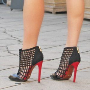SCHUTZ Caged Patent Leather Booties with Red Heel